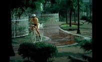 围栏小道上骑车和跑步的人
