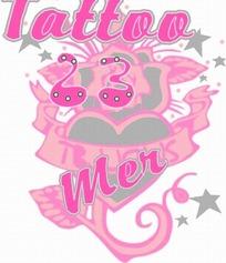 卡通插畫  粉紅紅心的玫瑰 tattoo 23 men 紋身圖案