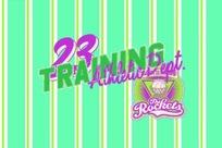 手绘插画 蓝色条纹上的23 training 篮球标志