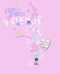 粉色背景上的手绘英文和心形以及兔子