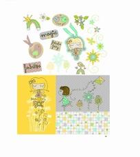 卡通插画 放风筝的女孩和树木