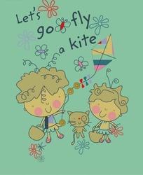 卡通动物插画--放风筝的小男孩和提包的小女孩