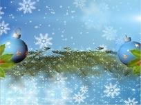 飘落的雪花和吊球松叶