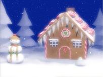 飘雪下的雪人松树和房屋