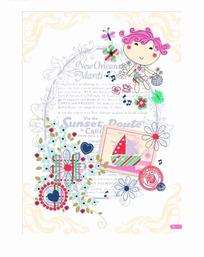 信笺上的女孩花朵和邮票