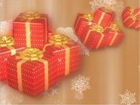 转动的圣诞礼物和隐现的白色雪花