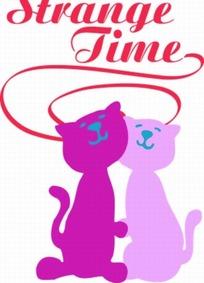 卡通动物插画-可爱两只猫和艺术字母