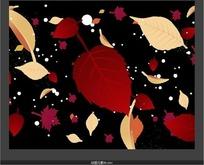 平移浮动的红色树叶