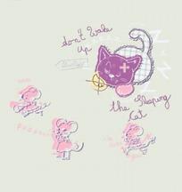 紫色愤怒的小猫和老鼠