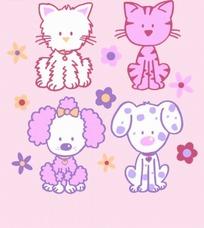 卡通动物插画-可家的小猫和小花狗