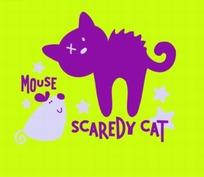 矢量卡通插画-绿色背景上的猫和老鼠
