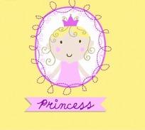 卡通画—粉色椭圆边框里的公主