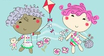 矢量印花图案-放风筝的小女孩和拿花朵的小女孩