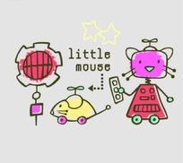 矢量印花图案-机器猫和电动老鼠