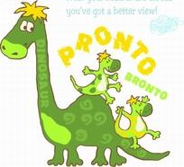 矢量印花图案-大恐龙背着两只小恐龙