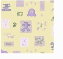黄色底的手绘英文和脚印以及小熊兔子底纹