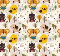 卡通树木和可爱的小熊和鸟以及黑猫底纹
