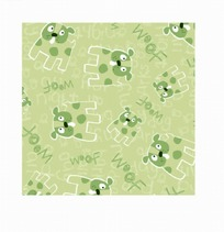 绿色底的手绘英文和小狗底纹