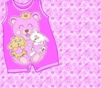 卡通插画  粉红连身背心上的小熊和怀抱的小猫小狗