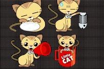 卡通插画 四款可爱长尾巴的咖啡色小猫