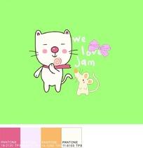 绿色背景上的手绘蝴蝶结和老鼠以及猫咪