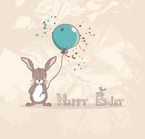 手绘英文边拿着蓝色气球的兔子