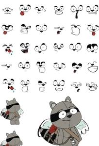 动漫卡通 有一对翅膀的狸猫 表情集合