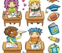 儿童插画—坐在书桌后的儿童和书本叶子和橄榄球