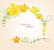 漂亮花朵和绿色枝条围成的边框插画psd分层素材
