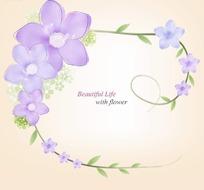 漂亮紫色花朵和绿色枝条围成的边框插画psd分层素材