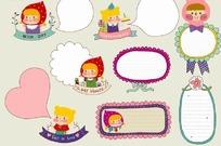卡通小女孩文本对话框