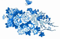 蓝色工笔画—蓝色蝴蝶和美丽的牡丹花和梅花psd素材