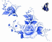 蓝色工笔画—蓝色蝴蝶和美丽的牡丹花psd素材