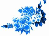 蓝色工笔画—蓝色叶子和美丽的牡丹花以及蝴蝶psd素材