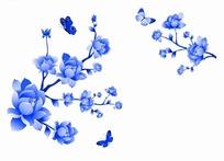 蓝色工笔画—树枝上的花朵和蓝色美丽蝴蝶psd素材