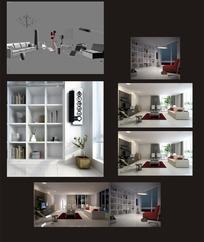 现代创意客厅分景效果图