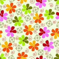 彩色花卉背景图案