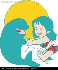和海豚手牵手的女孩卡通画