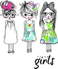手绘时尚可爱小女孩插画