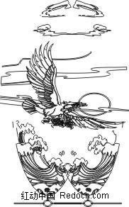 雕刻白描老鹰