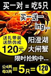 大闸蟹淘宝促销海报