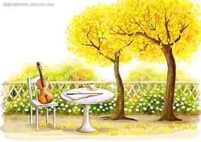 放在椅子上的小提琴
