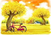 森林大树自行车和小房子