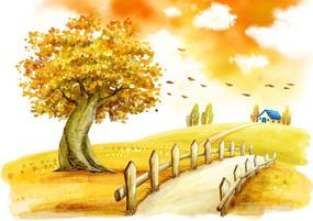 山坡上的房子的落葉飄飄的大樹