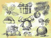 手绘效果圣诞节元素
