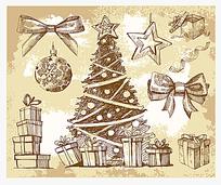 素描手绘圣诞节元素