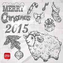 2015手绘圣诞元素设计矢量素材