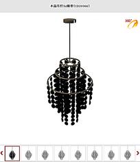 黑色水晶吊灯3d模型