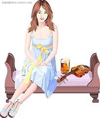 坐在沙发上的美女手绘图
