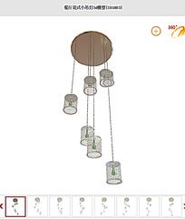 餐厅花式小吊灯3d模型